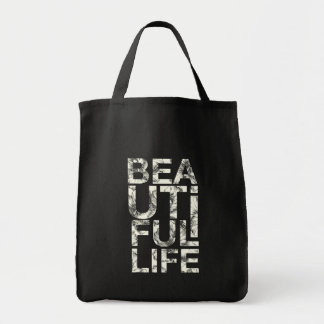 311 Beautiful Life Hibiscus Typography Grocery Tote Bag
