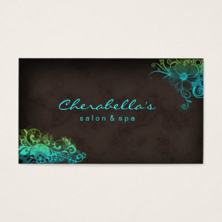 311 Beauty Salon Floral business card Blue Green