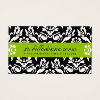 311 Belladonna Damask Golden Lime Business Card