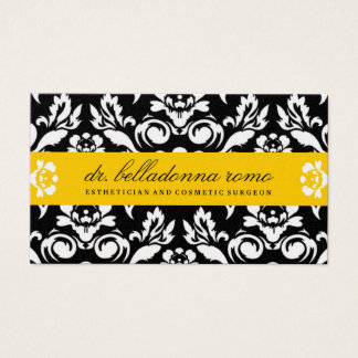 311-Belladonna Damask Golden Yellow Business Card