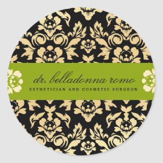 311 Belladonna Damask Lime Classic Round Sticker