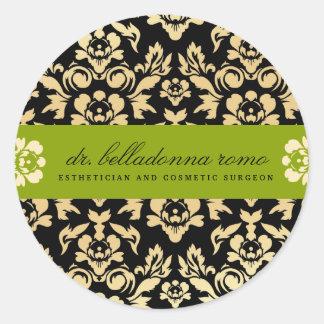 311 Belladonna Damask Lime Round Sticker