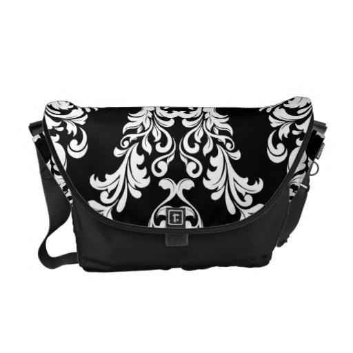311 Black White Damask Messenger Bag
