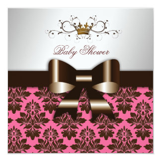 "311 Blackberry Brown Damask Rose Pink | Baby 5.25"" Square Invitation Card"