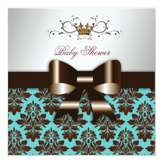 """311 Blackberry Brown Damask Rose Turquoise 5.25"""" Square Invitation Card"""