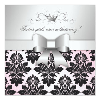 311-Blackberry Precious Pink Damask | Baby Shower Card