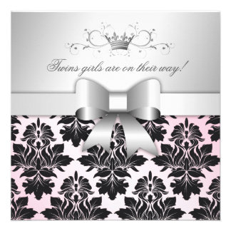311-Blackberry Precious Pink Damask Baby Shower Invitation