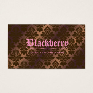 "311- Blackberry ""Pure"" Chocolate Truffle Damask Business Card"