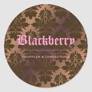 "311-Blackberry ""Pure"" Chocolate Truffle Damask Classic Round Sticker"