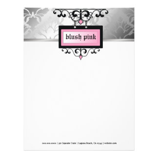 311 Blush Pink Damask Shimmer Personalized Letterhead