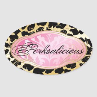 311 Bodacious Boutique Golden Leopard Spots Oval Sticker
