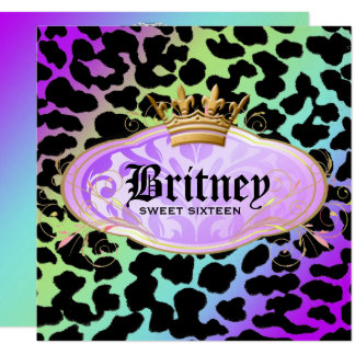 311 Bodacious Leopard Damask Amethyst Rainbow Card