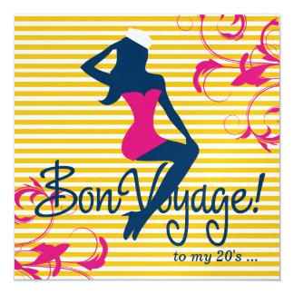 311-Bombshell Silhouette Nautical Blue Pink Swirls Card