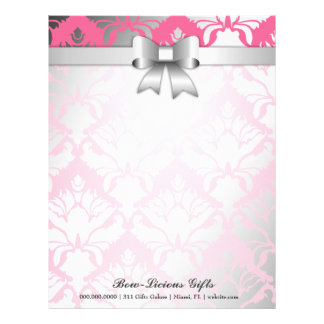 311-Bow-licious Pink Damask Letterhead