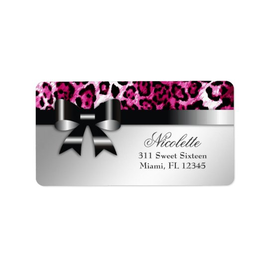 311 Bowlicious Hot Pink Leopard Address Label