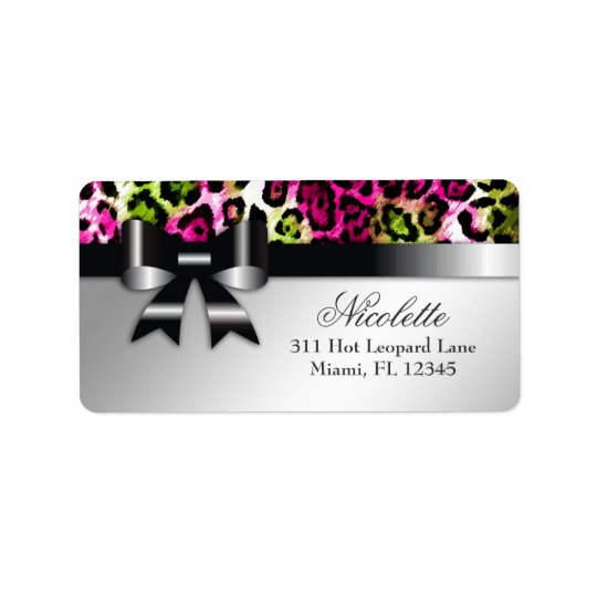 311 Bowlicious Hot Pink Lime Leopard Address Label
