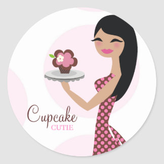 311-Candie the Cupcake Cutie Black Straight Hair Round Sticker