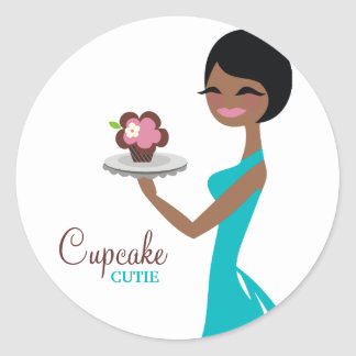 311 Carmella the Cupcake Cutie Gift Box Blue Round Sticker