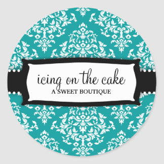 311 cerise sur le gâteau Teal Sticker Rond