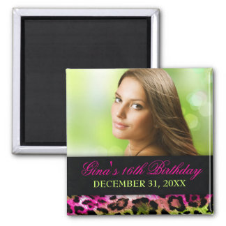 311 Chic Hot Pink Lime Leopard Bow Save the Date Magnet