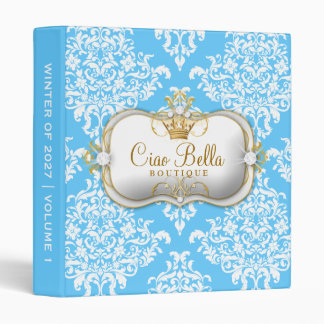 311 Ciao Bella & Lovey Dovey Damask Snow 3 Ring Binder
