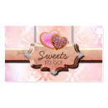 311 Cookies Bakery Cute Damask Peach Double-Sided Standard Business Cards (Pack Of 100)