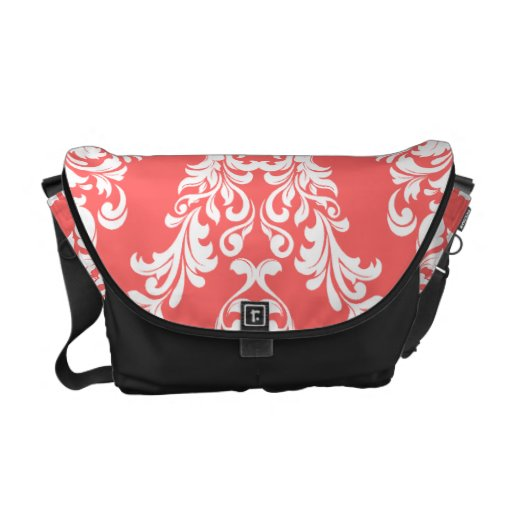 311 Coral White Damask Commuter Bags