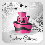 311 Couture Gâteaux Hot Pink Square Stickers