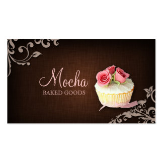 311 Cupcake Business Card Linen Brown Pink Roses