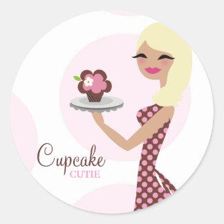 311-Cupcake Cutie 31Sticker onduleux blond léger Autocollants Ronds