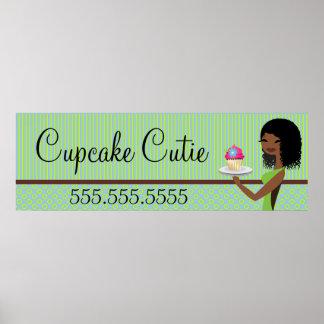 311 Cupcake Cutie African American Green Banner Poster