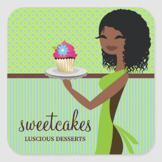 311 Cupcake Cutie Blue Green African American Square Sticker
