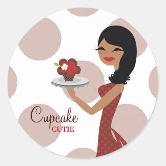 311-Cupcake Cutie Ethnic   Red Classic Round Sticker