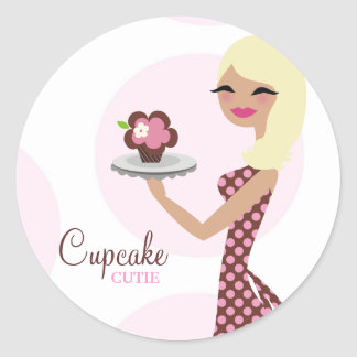 311-Cupcake Cutie Light Blond Wavy 31Sticker Round Sticker