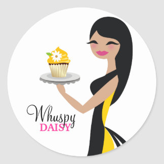 311 Daisy Cupcake Cutie Straight Black Round Sticker