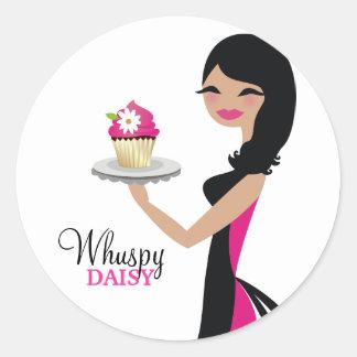 311-Daisy Cupcake Cutie | Wavy Brunette Round Sticker
