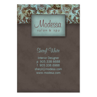 311 Damask Salon Spa Appointment Card Blue Brown Pack Of Chubby Business Cards