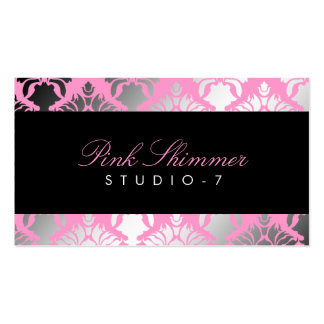 311 Damask Shimmer Pink Plush Black BowCertificate Double-Sided Standard Business Cards (Pack Of 100)