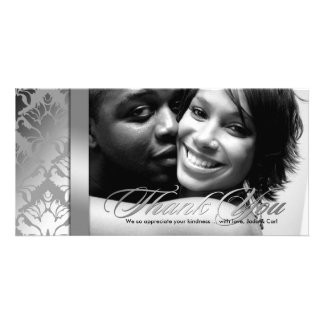 311-Damask Shimmer Thank You Silver Customized Photo Card