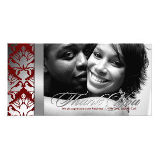 311-Damask Shimmer Thank You Silver Red Card