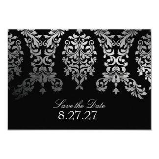 311 Dashing Damask Black Faux Silver SAVE THE DATE Card