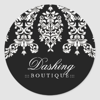 311 Dashing Damask Black White Classic Round Sticker