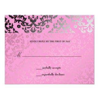"311 Dazzling Damask Pink Flamingo RSVP card 4.25"" X 5.5"" Invitation Card"