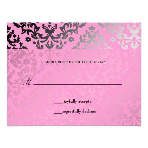 311 Dazzling Damask Pink Flamingo RSVP card