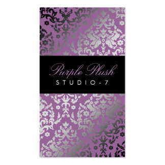 311-Dazzling Damask Purple Plush Double-Sided Standard Business Cards (Pack Of 100)