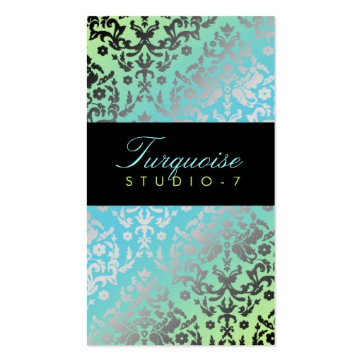 311 Dazzling Damask Turquoise Lime Black Business Cards