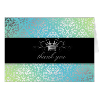 311-Dazzling Damask Turquoise & Lime Thank you Card