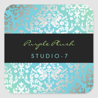 311 Dazzling Damask Turquoise Square Sticker