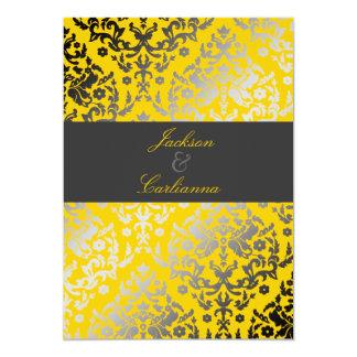 311 Dazzling Damask Yellow   Charcoal Gray Band Card