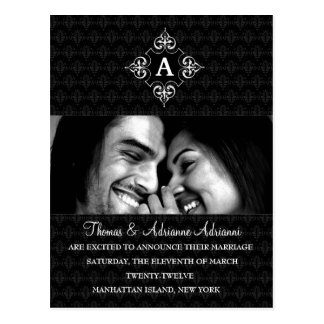 311-DIAMOND MONOGRAM WEDDING ANNOUNCEMENT POSTCARD